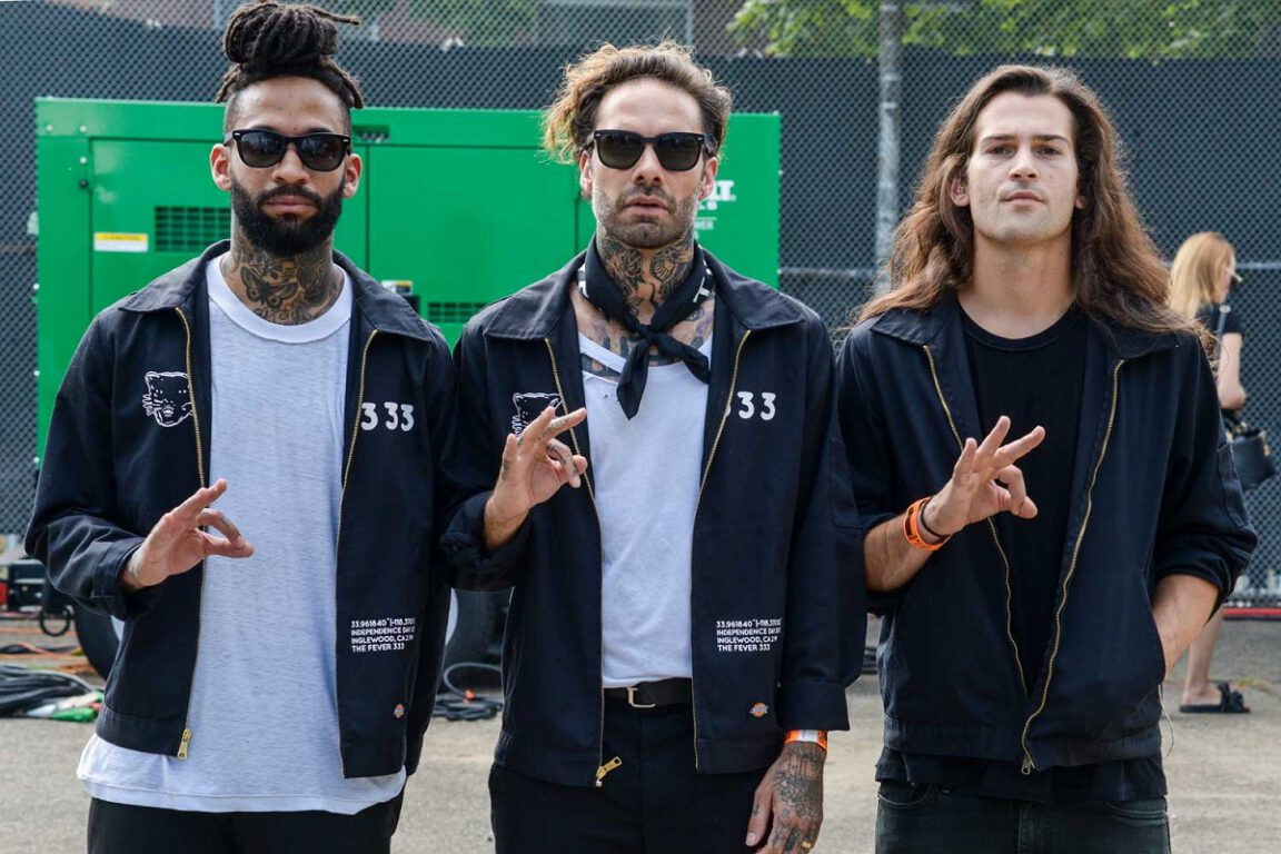 Photo of Jason Aalon Butler, Stephen Harrison and Aric Improta of rapcore band FEVER 333.