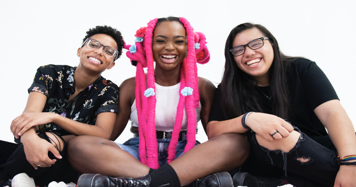 Téa Campbell, Edith Johnson and Ada Juarez of pop-punk band Meet Me @ the Altar.