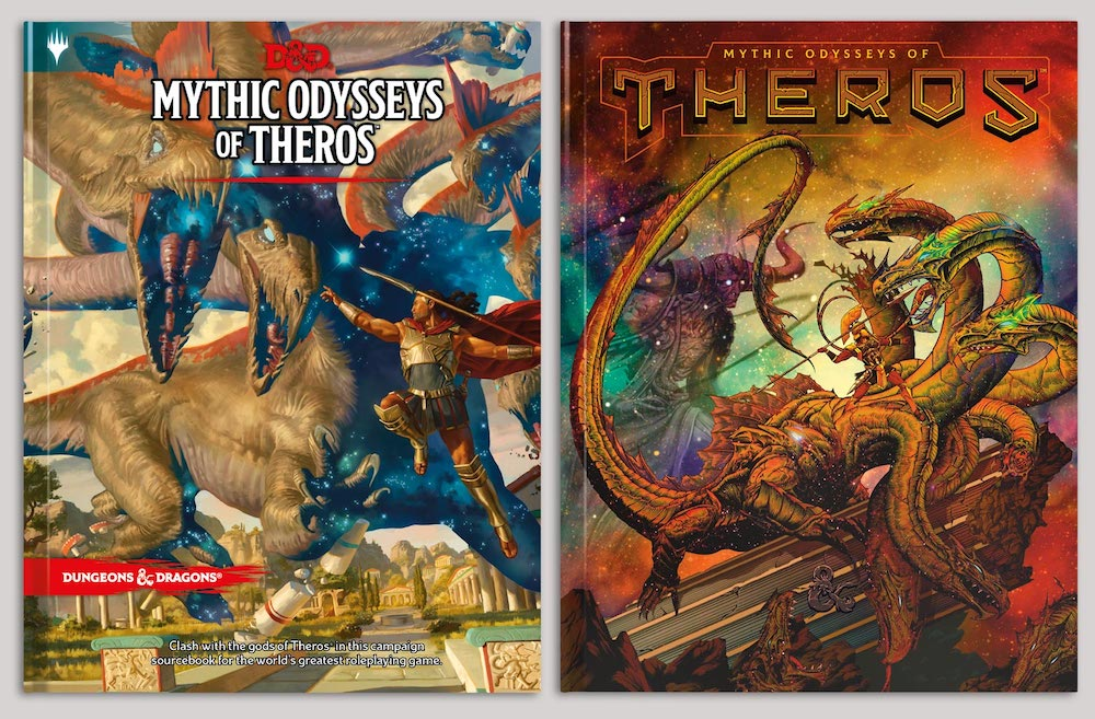The normal and alternative cover of Mythic Odysseys of Theros.