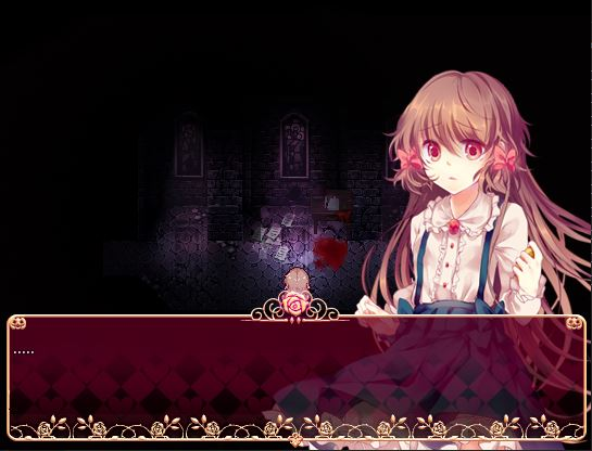 The protagonist stumbling in fear over blood on the floor in Pocket Mirror.