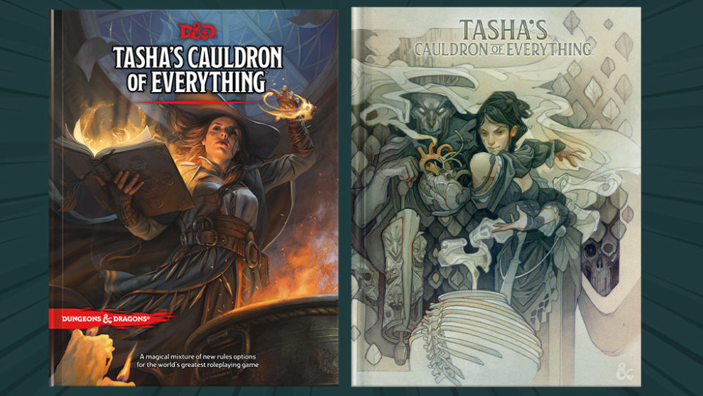 The normal and alternative covers for Tasha'a Cauldron of Everything.