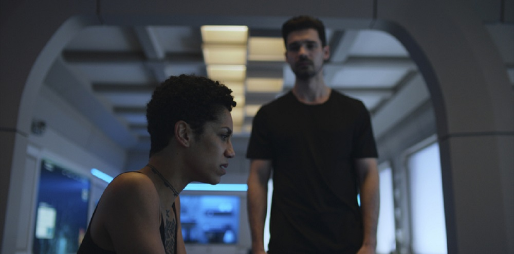 Still of Dominique Tipper as Naomi Nagata and Steven Strait as James Holden in The Expanse. Photo courtesy of Amazon Studios.