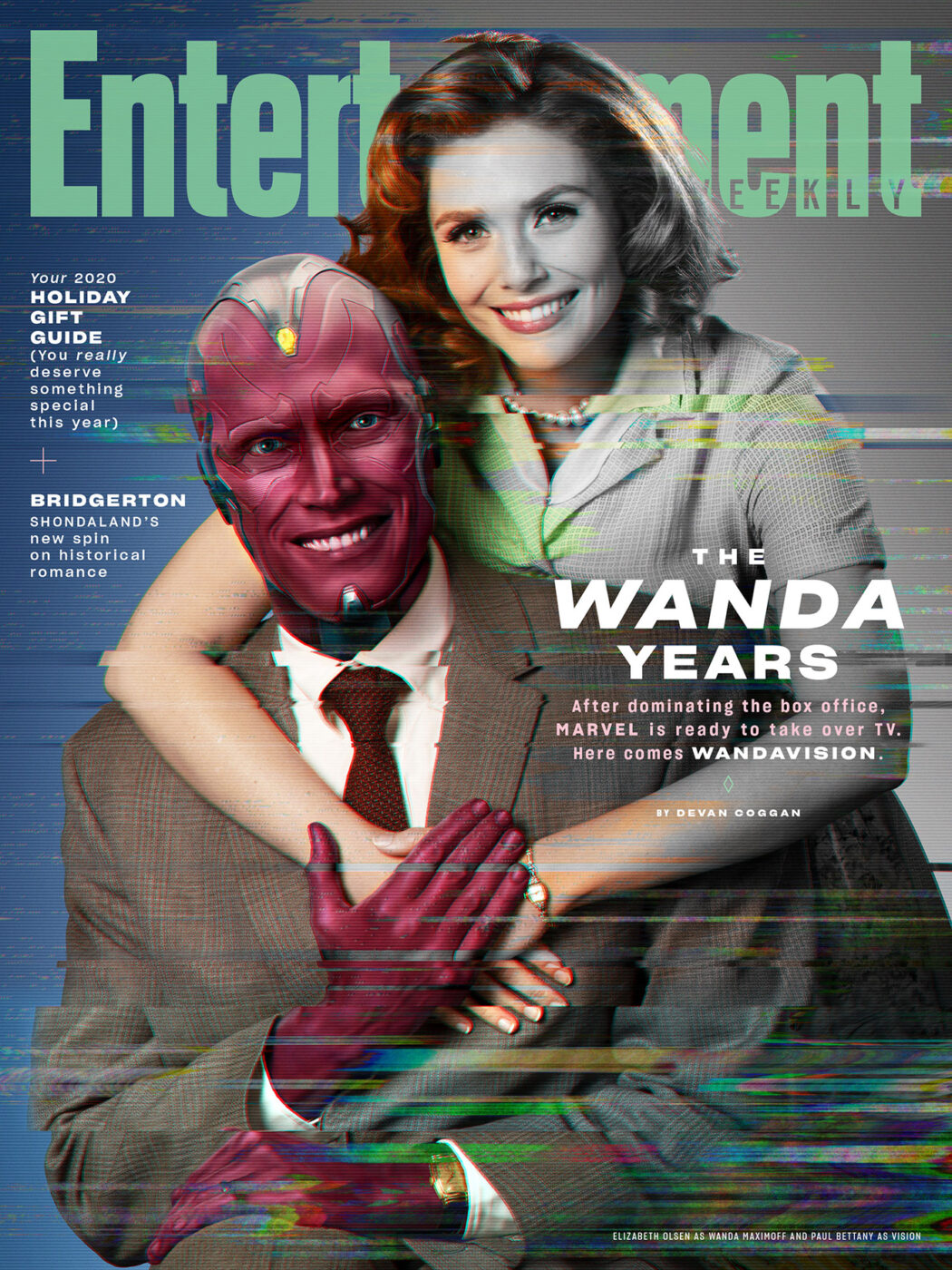 Entertainment Weekly December cover featuring Elizabeth Olsen and Paul Bettany from Marvel's WandaVision.