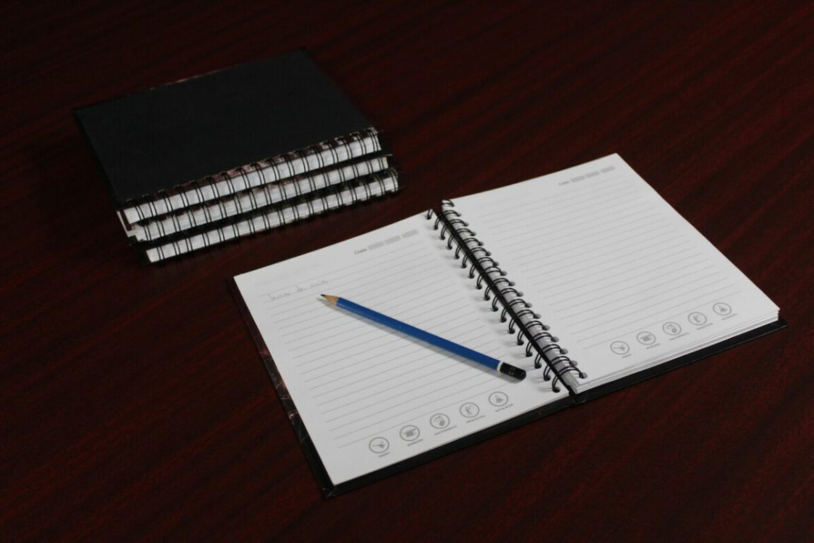 open notebook and pen