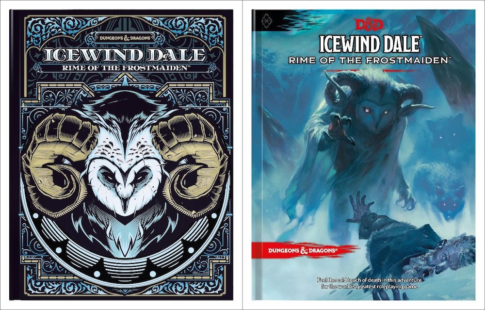 The normal and alternative cover of Icewind Dale: Rime of the Frostmaiden.