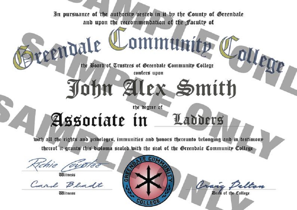 Greendale Community College graduation certificate inspired by Community. Available on Etsy.