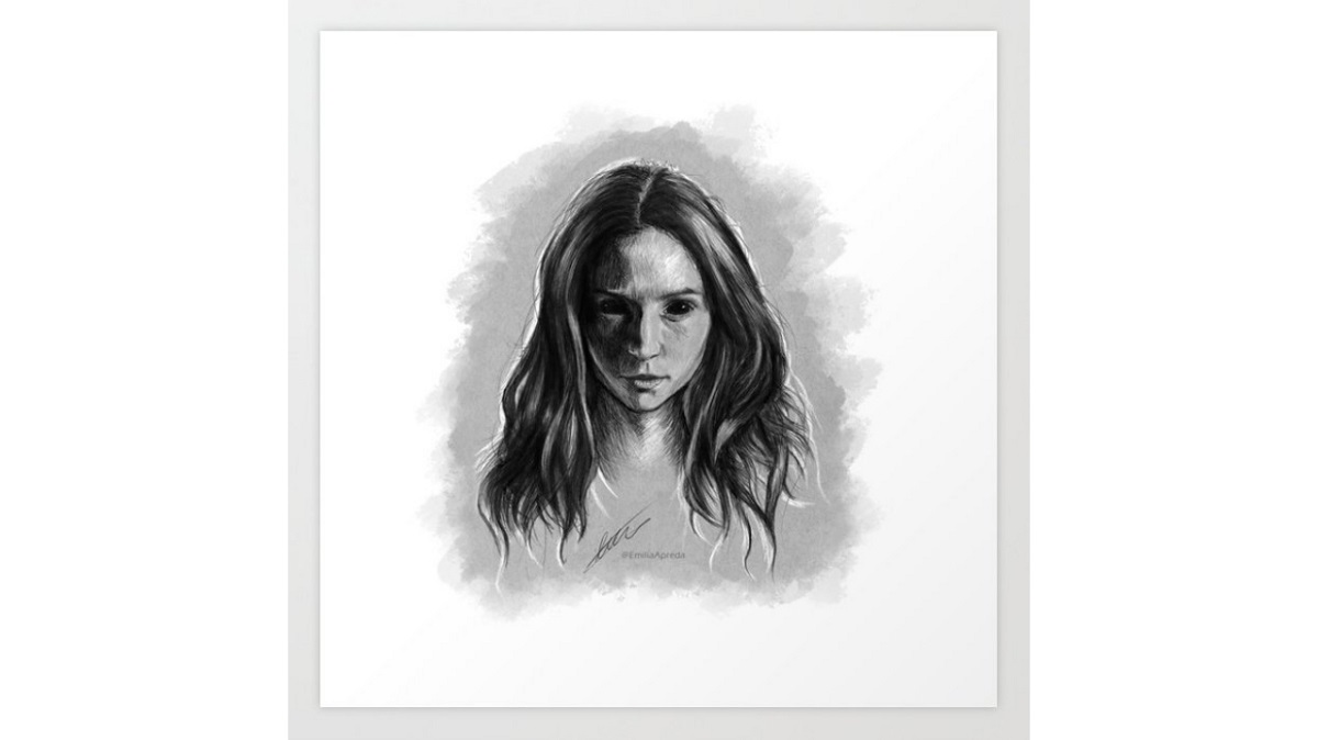 """Sketch of Waverly Earp possessed by the """"Goo"""" from Season Two of Wynonna Earp. Available on Society6."""