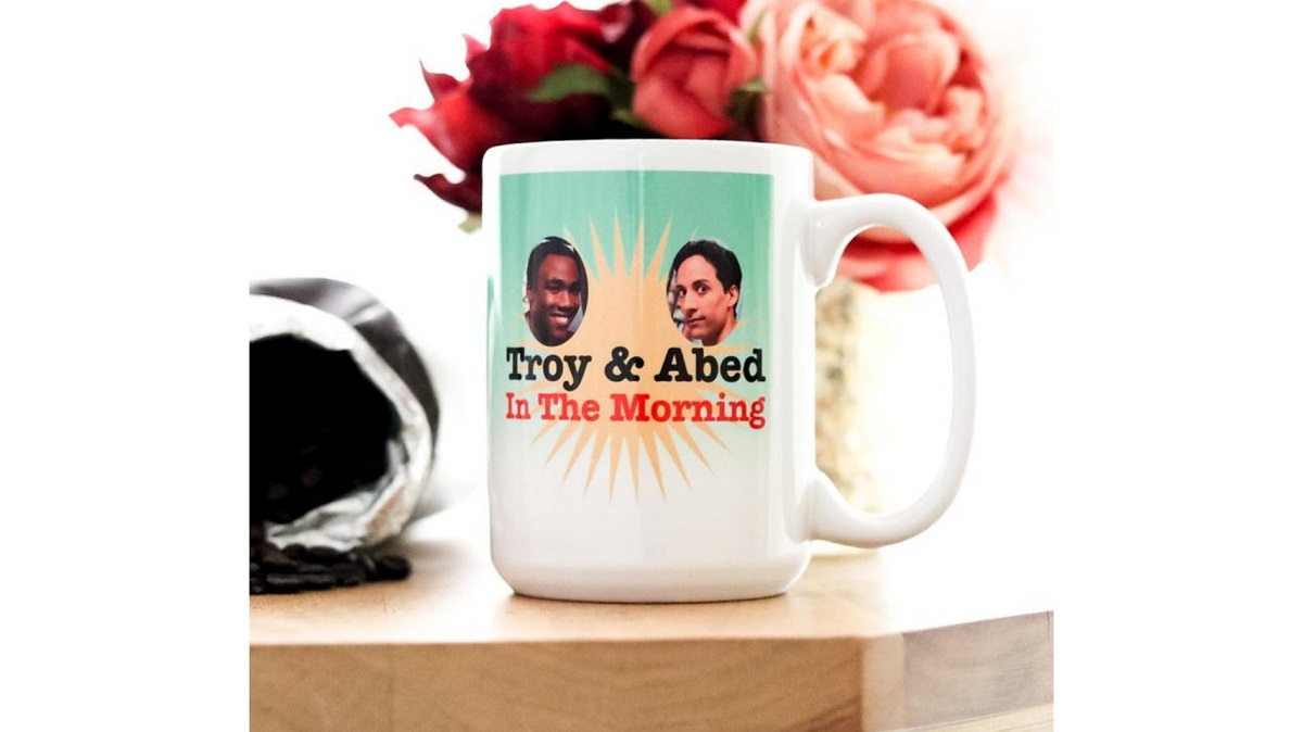 Troy and Abed in the Morning coffee mug inspired by Community. Sold on Etsy.