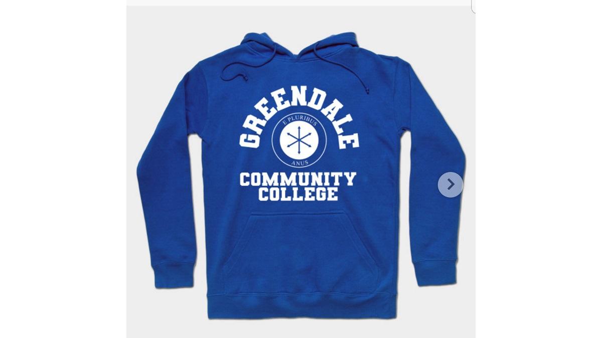 Greendale Community College sweatshirt. Sold on TeePublic.