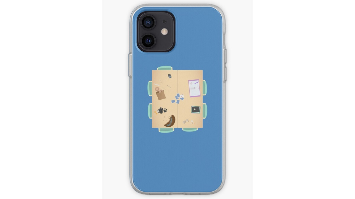iPhone case with the study room table from Community. Sold on Redbubble.