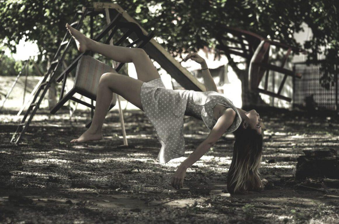 woman falling midair.
