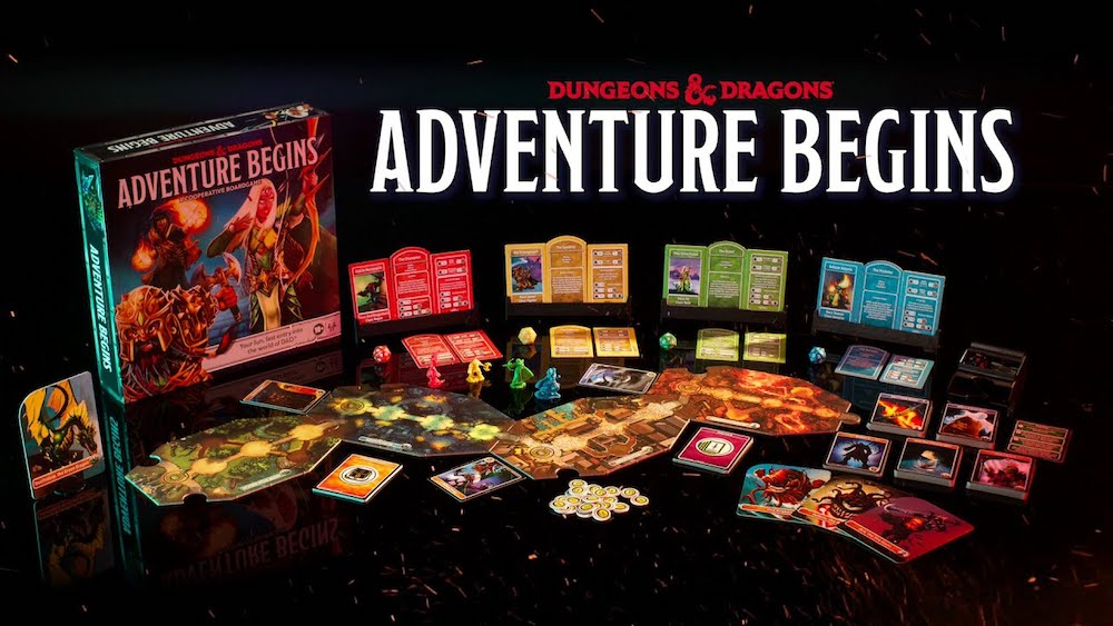 The Adventure Begins boardgames and box art.