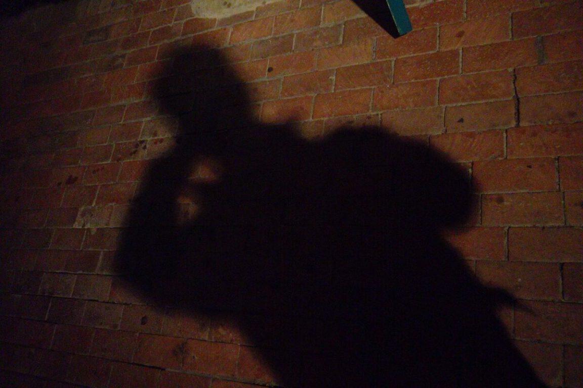 Human shadow on an alley wall