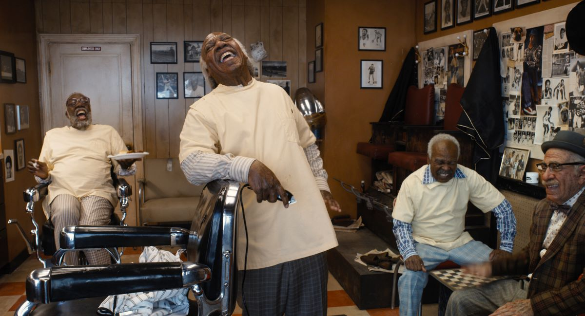 Still from barbershop in Amazon's Coming 2 America.
