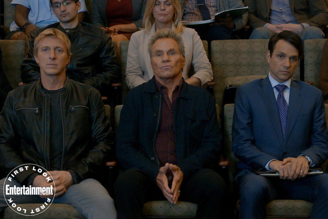 Still of William Zabka, Martin Kove and Ralph Macchio in Season 3 of Cobra Kai.