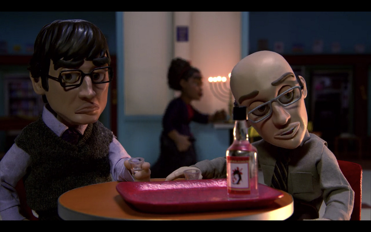 """Still of John Oliver and Jim Rash in stop-motion animation for Community's """"Abed's Uncontrollable Christmas."""""""
