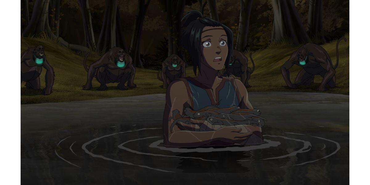 K'in ambushed by howler monkeys (Onyx Equionx, season 1 episode 3)