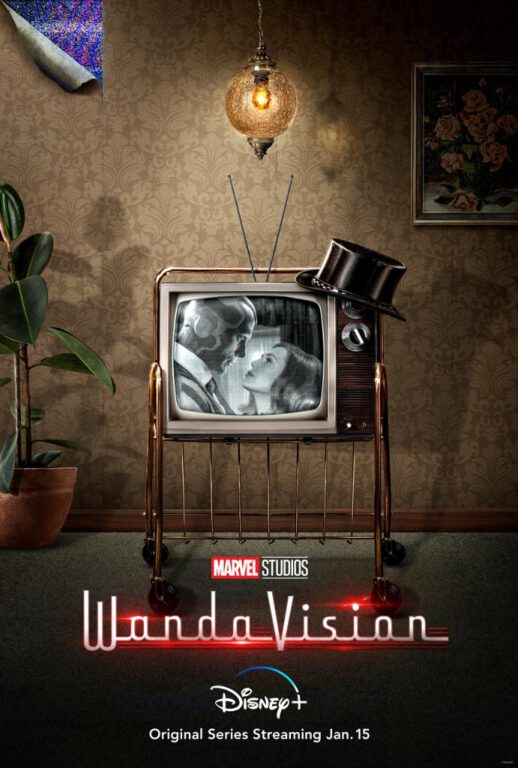 WandaVision 1950s poster featuring Elizabeth Olsen as Wanda Maximoff and Paul Bettany as Vision.