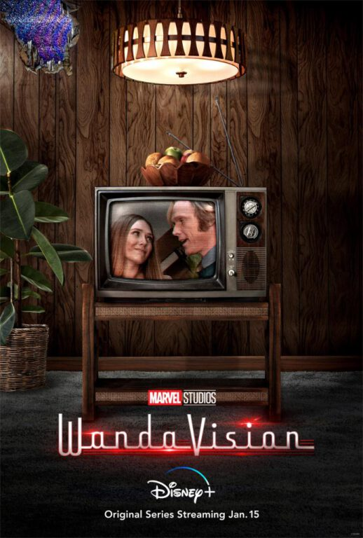 WandaVision 1970s poster featuring Elizabeth Olsen as Wanda Maximoff and Paul Bettany as Vision.