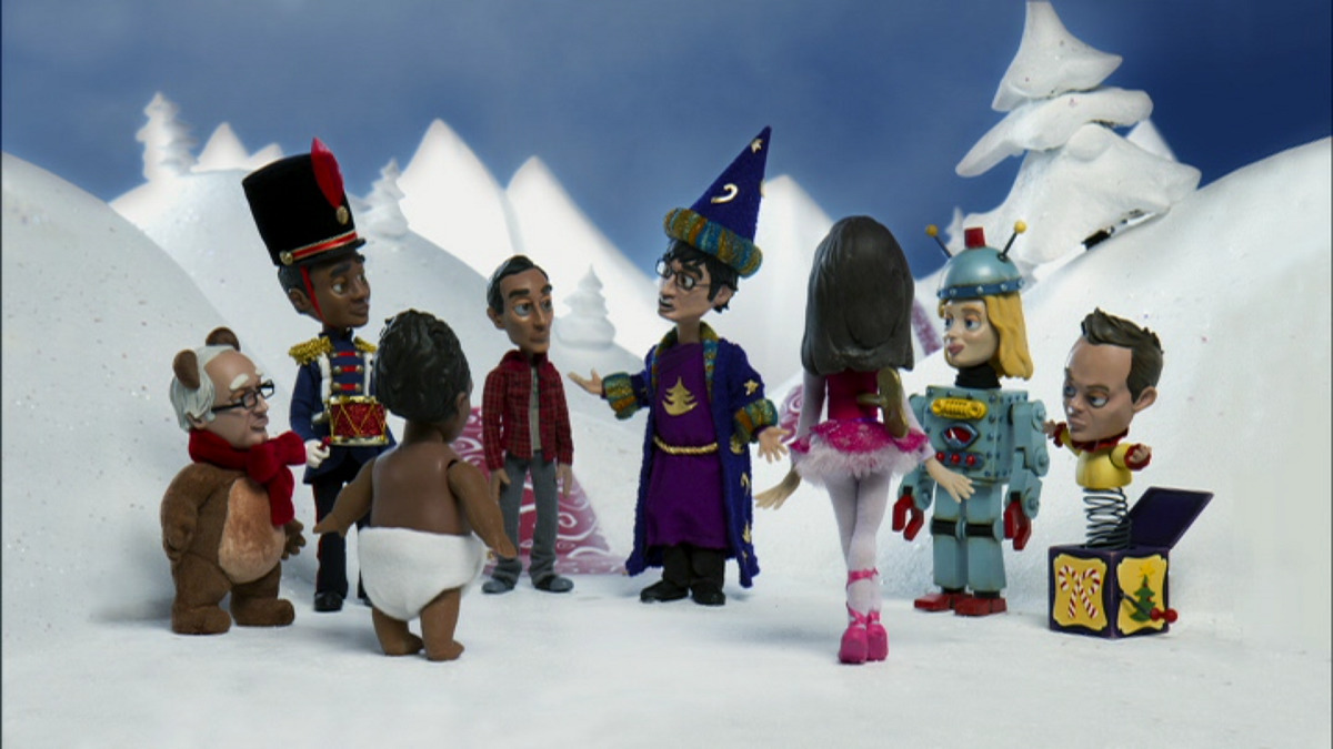 """Still of Community cast in stop-motion animation for """"Abed's Uncontrollable Christmas."""""""