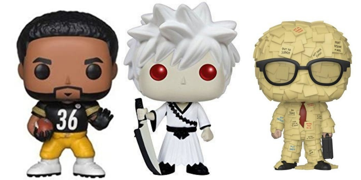 Three Funko Pops from sports, anime and tv.