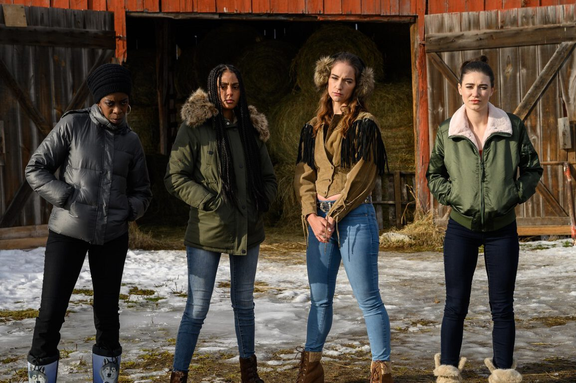 Still of Lisa Codrington, Clark Backo, Melanie Scrofano, and Kamilla Kowal in Letterkenny.