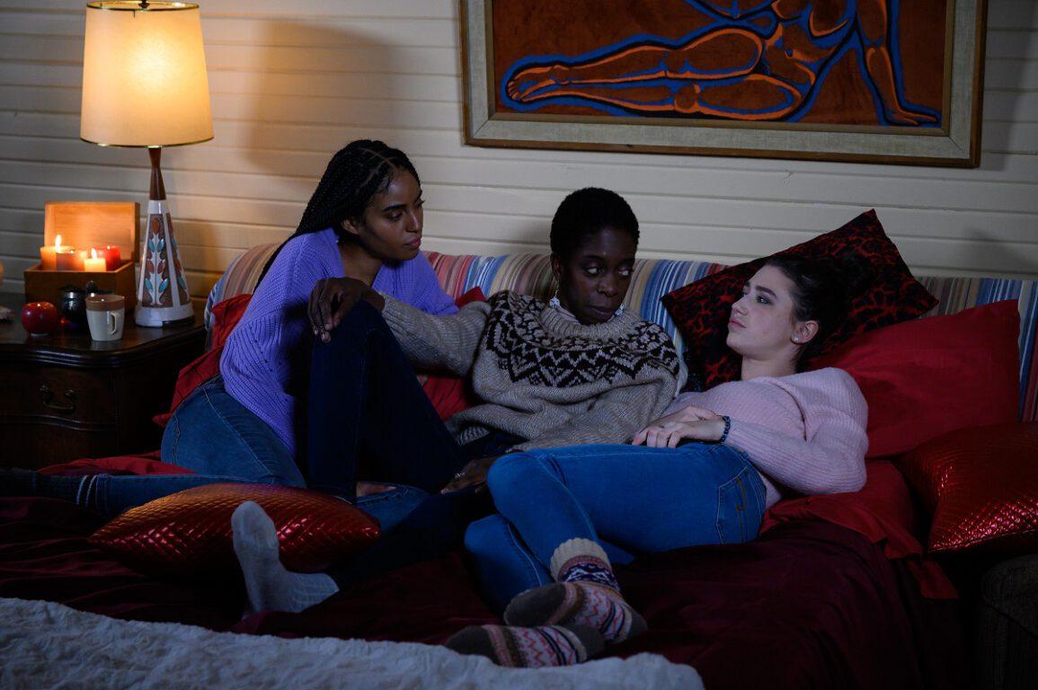 "Still of Clark Backo, Lisa Codrington and Kamilla Kowal in Letterkenny episode ""Sleepover."""