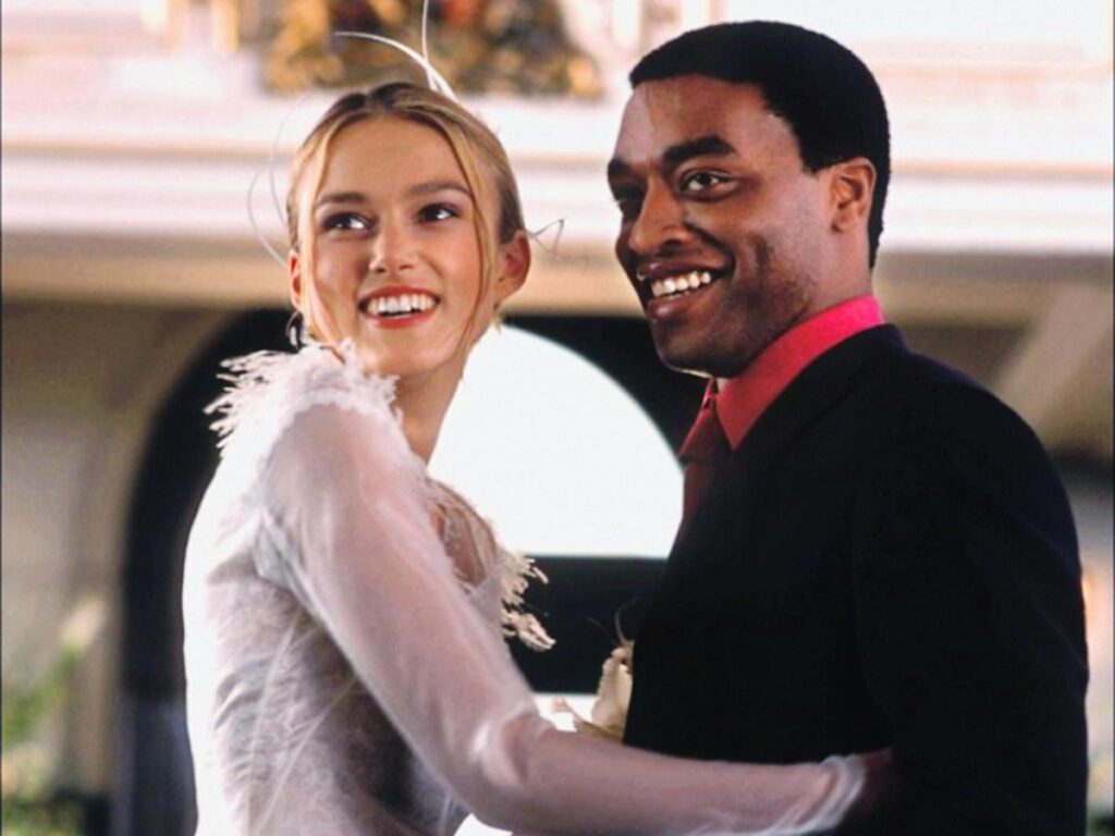 Still of Keira Knightley and Chiwetel Ejiofor in Love Actually, which will air during Freeform's 25 Days of Christmas.