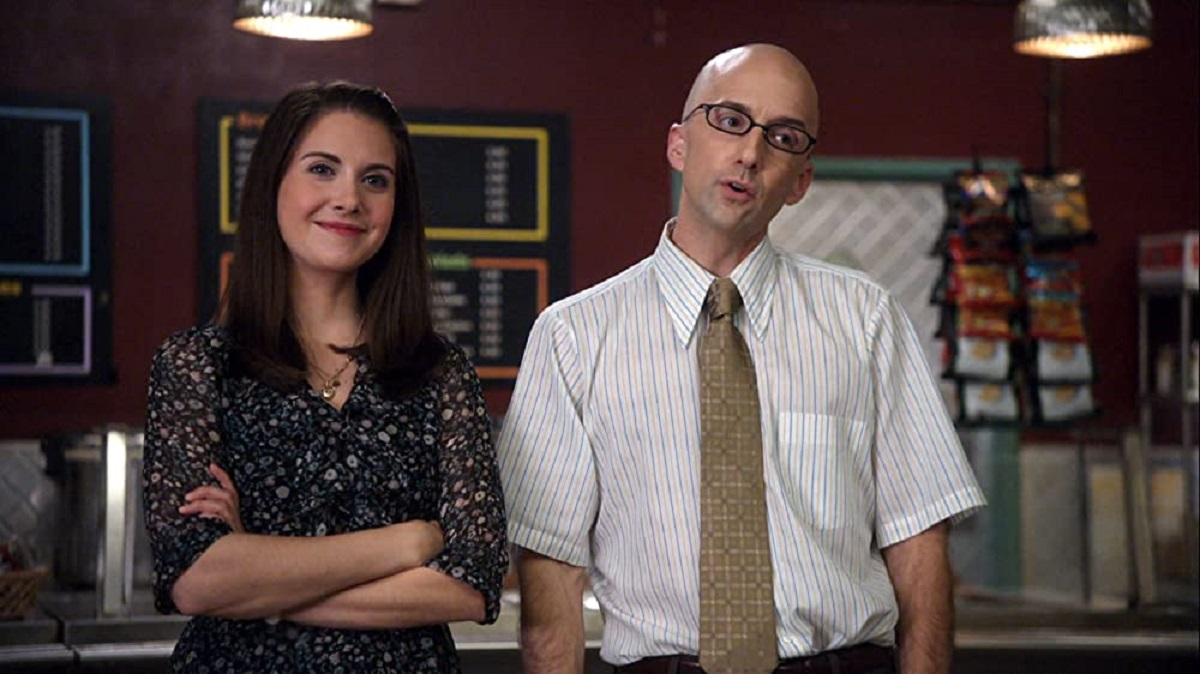 """Still of Alison Brie and Jim Rash in Community episode """"Celebrity Pharmacology 212."""""""