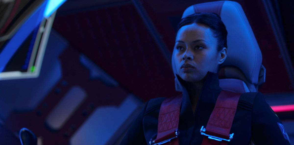 Still of Frankie Adams as Bobbie Draper in The Expanse.