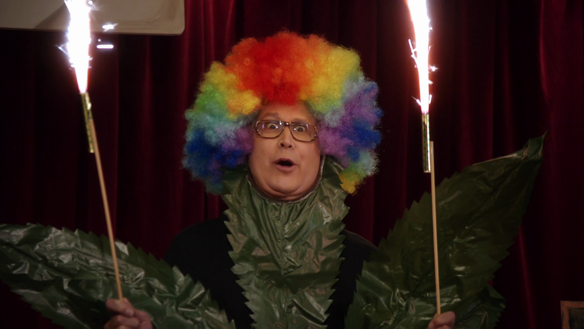 """Still of Chevy Chase as Pierce Hawthorne in Community episode """"Celebrity Pharmacology 212."""""""