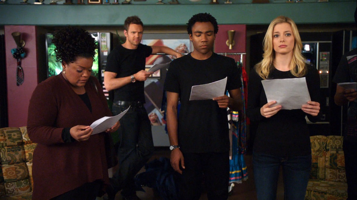 """Still of Yvette Nicole Brown, Joel McHale, Donald Glover and Gillian Jacobs in Community episode """"Celebrity Pharmacology 212."""""""