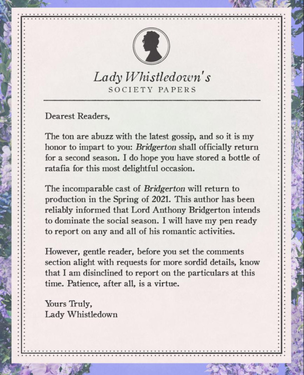 Lady Whistledown scandal sheet announcing season two of Bridgerton.