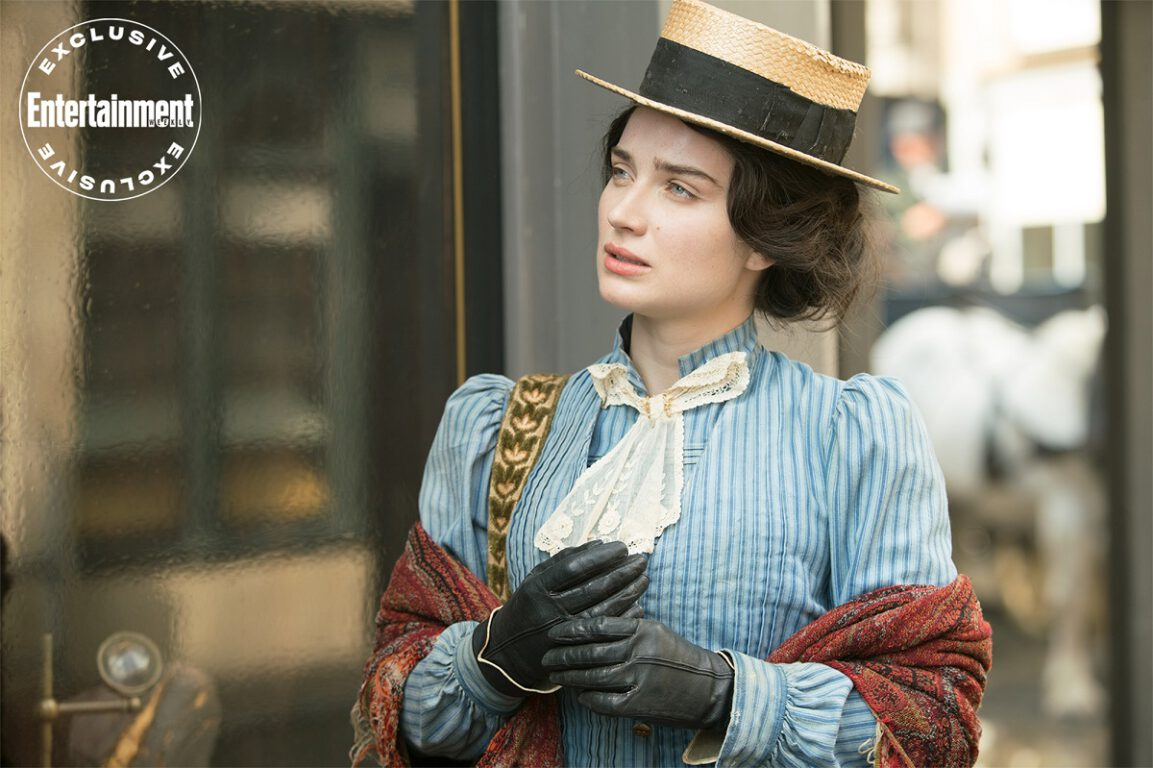 Still of Eve Hewson as Anna Wetherell in The Luminaries. EW Exclusive by Kirsty Griffin/BBC.
