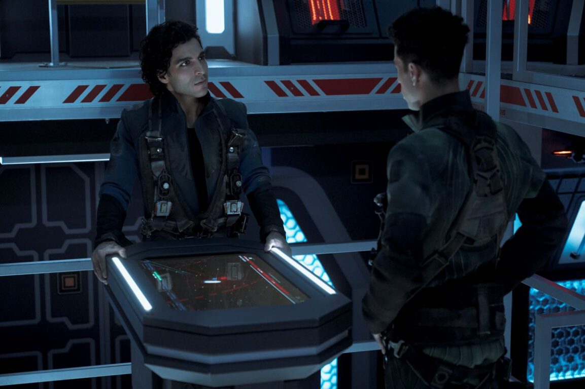 Still of Keon Alexander as Marco Inaros and Jasai Chase Owens as Filip in The Expanse.