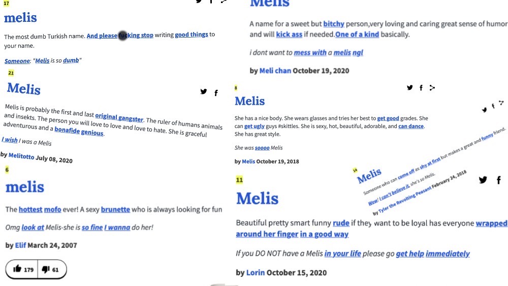 This image shows various definitions of the name Melis as defined on Urban Dictionary dot com