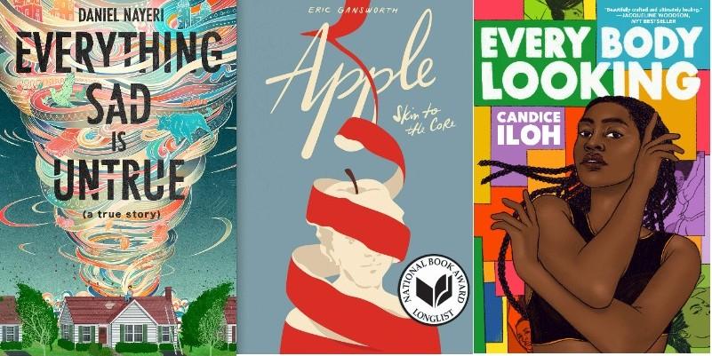 Three covers of 2021 Michael L Printz Award winner and honored books