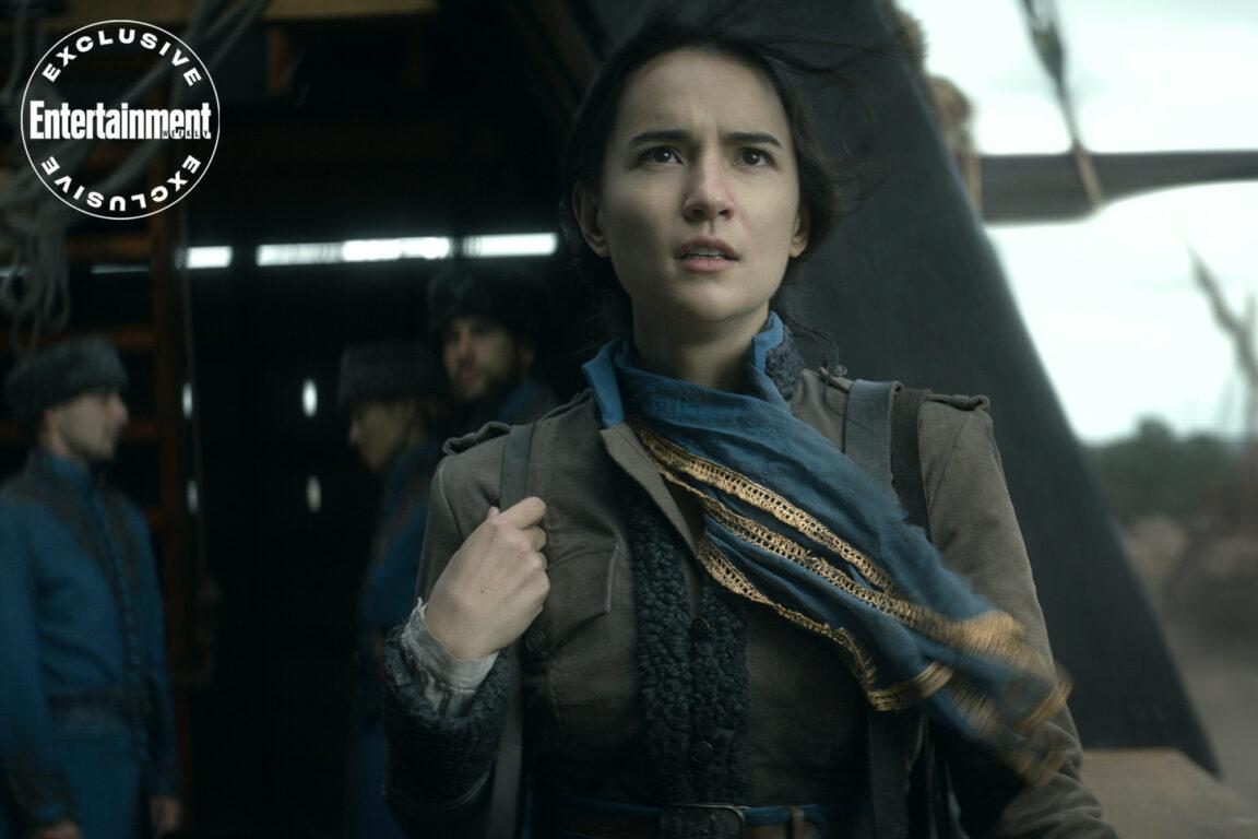 Alina Starkov (Jessie Mei Li) aboard a sand skiff in Shadow and Bone.