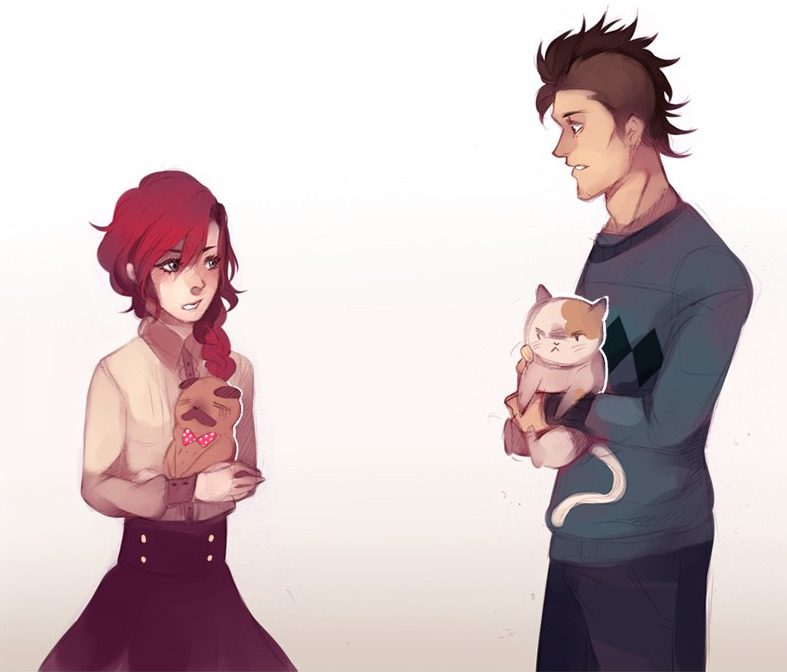 Adilene with her dog Teacup and Mihai and his cat Muffins from Socializing101, one of this week's Saturday Morning Webtoon.