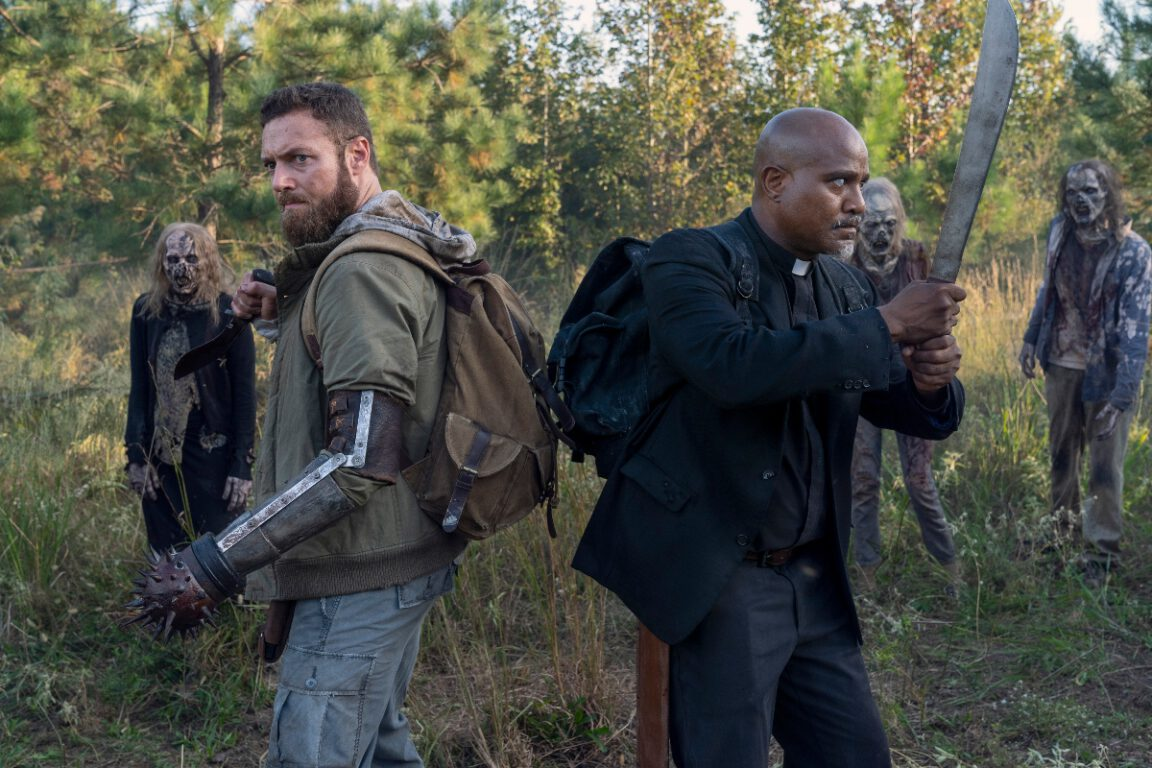 Aaron and Father Gabriel face some familiar foes  in the extended episodes of The Walking Dead