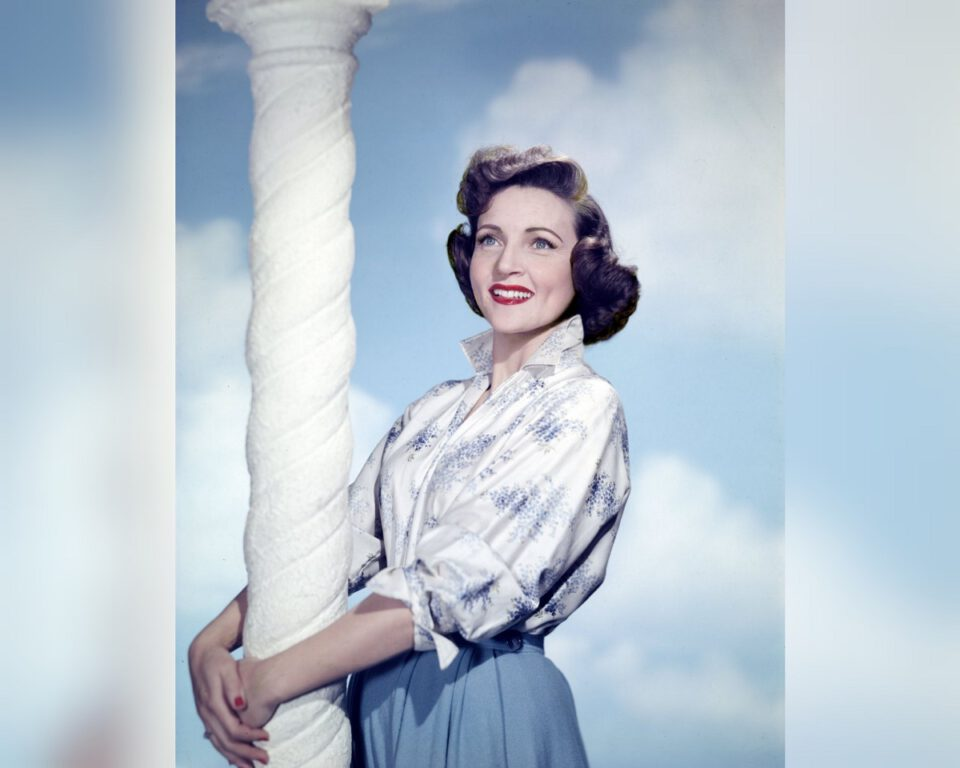 Vintage, colorized photo of Betty White from the 1940s-1950s.