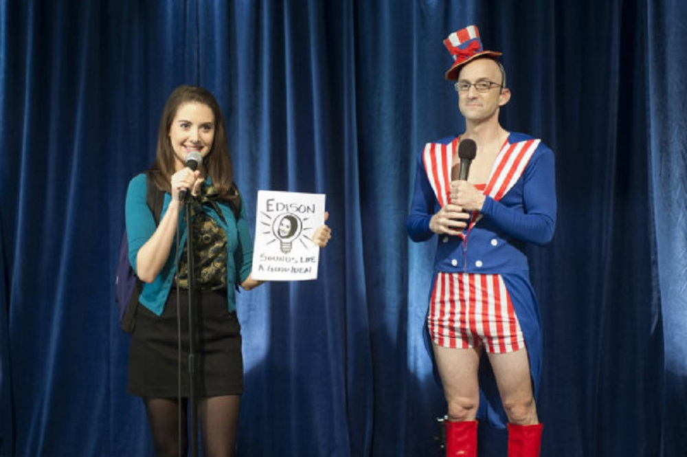 """Still of Alison Brie as Annie Edison and Jim Rash as Dean Pelton in Community episode """"Intro to Political Science."""""""