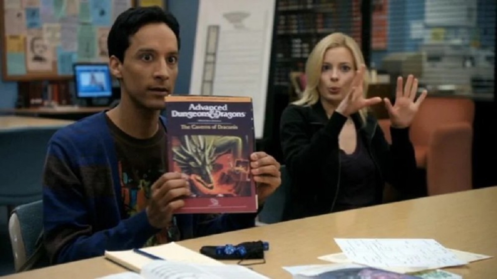 """Still of Danny Pudi as Abed Nadir and Gillian Jacobs as Britta Perry in Community episode """"Advanced Dungeons & Dragons."""""""