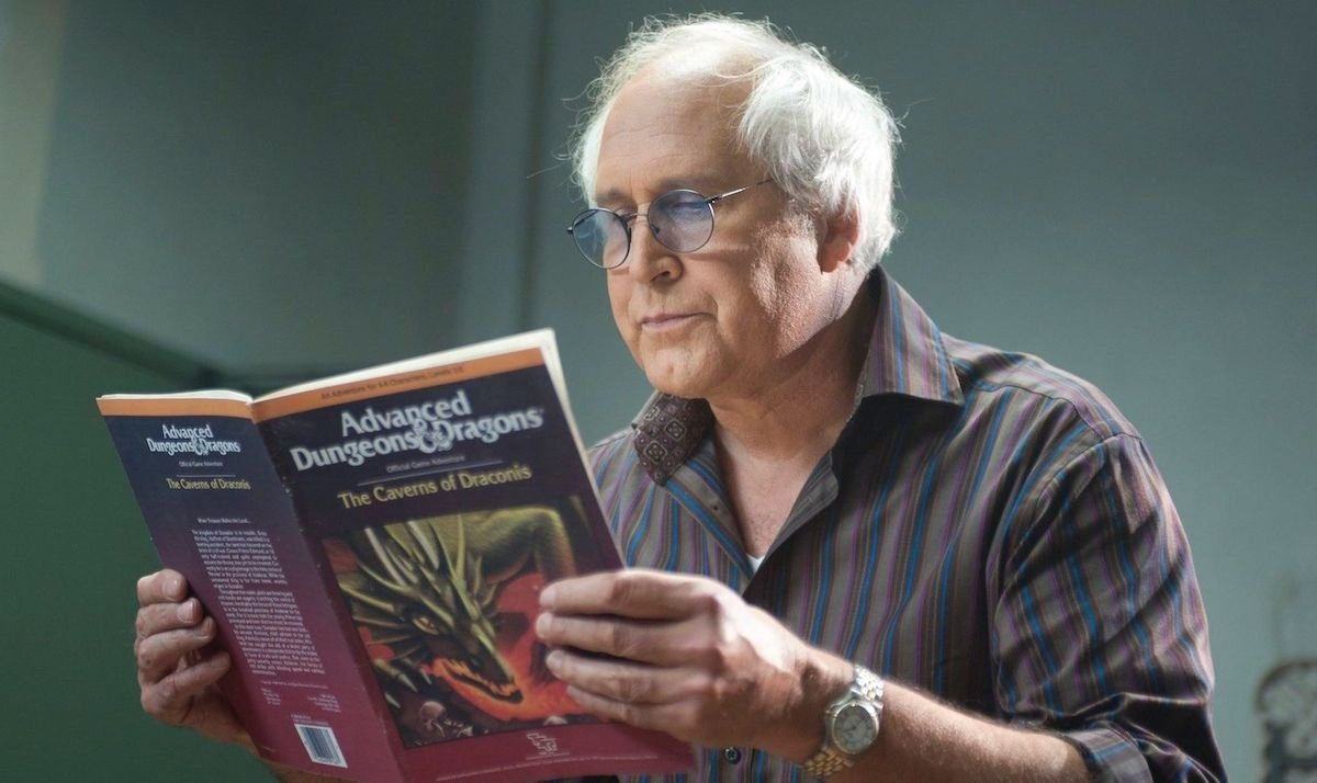"""Still of Chevy Chase as Pierce Hawthorne in Community episode """"Advanced Dungeons & Dragons."""""""