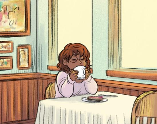 Ray enjoying her coffee in toast in Crumbs.
