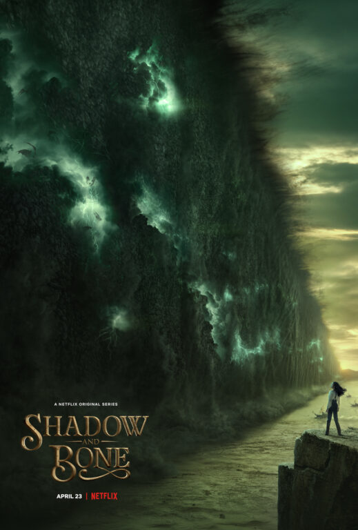 Alina standing on a cliff near the Shadow Fold for the Shadow and Bone poster art.