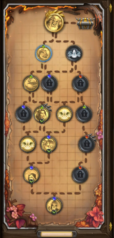 Idea of what the board will look like for Hearthstone Mercenaries where the player will complete battles in order to move closer to the boss with the possibility of completing different paths.