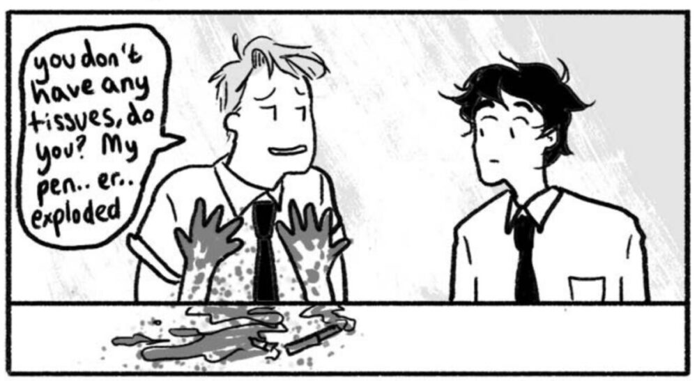Nick asking Charlie for a napkin after his pen blew up in Heartstopper.