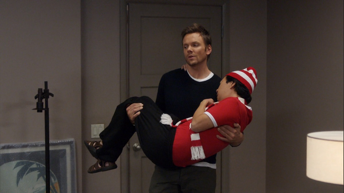 "Still of Joel McHale and Ken Jeong in Community episode ""Early 21st Century Romanticism."""