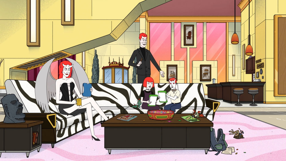 Photo of Regina (voiced by Pamela Adlon) and Devil (voiced by Alan Tudyk) in Devil May Care.